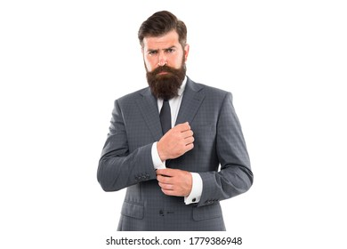 Going for something more classic. Fashion look of bearded man. Businessman fix cuff isolated on white. Formal fashion style. Formalwear. Mens wardrobe. Fashion store. Classy fashion.