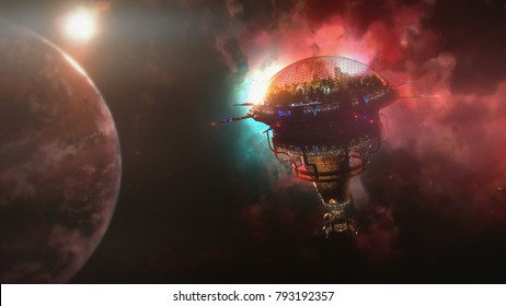 Going to the space station near the planet and nebula. 3d illustration