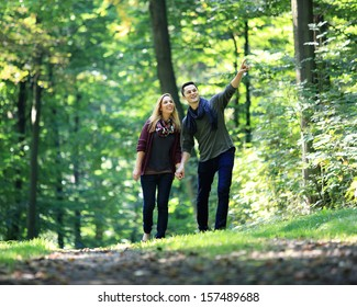 going for a walk through the forest on a romantic date