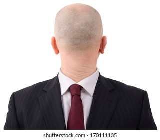 Going in the wrong direction? Man with head on backwards isolated on a white background