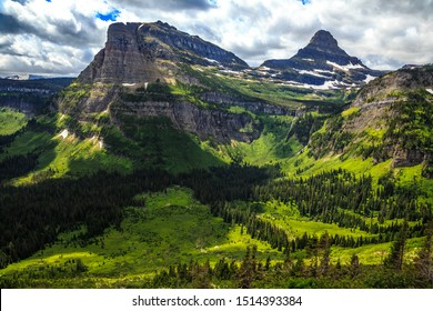 Going-to-the-Sun Road Morning Scenery in Glacier National Park, Montana
