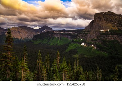 Going-to-the-Sun Road Sunset Scenery in Glacier National Park, Montana