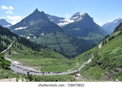 Going-to-the-sun Road through Glacier National Park, in the mountains