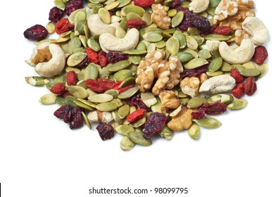 Goji berry trail mix on white