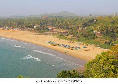 Gokarna Beach, Karnataka. Top view of the beach.