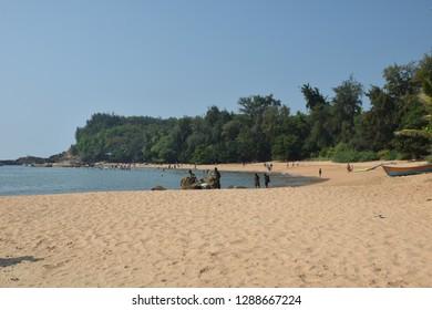 Gokarna- December 23: OM beach wide view on December 23, 2018, Gokarna, Karnataka, India