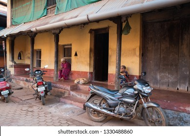 Gokarna. India. 02/18/2019 Old women Gokarna. India  near  temple