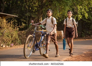 Gokarna, India - January 22, 2016: Unidentified children go to school in the morning in Gokarna, India.