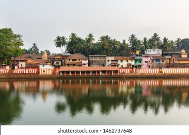 Gokarna, India - March 2019: Beautiful Indian houses on the sacred lake Koti Teertha in the center of Gokarna