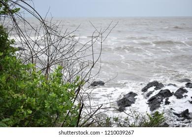 Gokarna, Karnataka, India - June 24, 2017: Waves hitting Kudle beach.