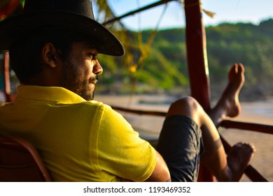 Gokarna, Karnataka, India:08 September 2018: A man relaxing near the beach