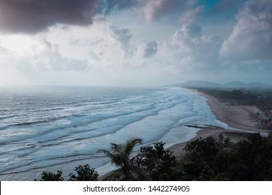 Gokarna main beach during dramatic weather