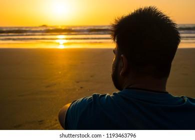 Gokarna,Karnataka, India - 08 September 2018: A person gazing at beach