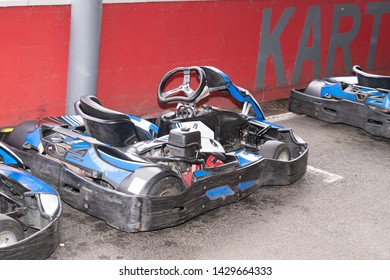 gokart in karting circuit cars parked next to track for kart drivers