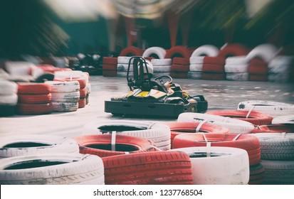 Go-kart racing track in amusement park.
