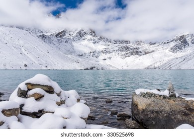 Gokyo lake (Dudh Pokhari) in Everest region, Nepal. View of Renjo Pass covered with snow on the opposite side of the lake.