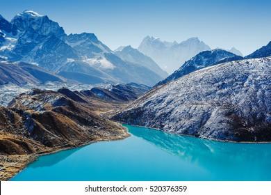 Gokyo lake with Ngozumba glacier. Himalayas. Early morning. View from Gokyo Ri