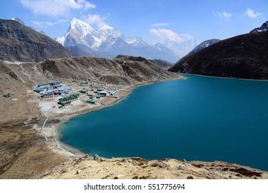 Gokyo Lake and Gokyo Village with Himalayas mountain view