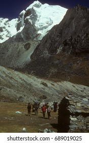 GOKYO, NEPAL - OCT 28, 1979 - Sherpas setting up camp below Chyungma pass, Khumbu Himalaya,Nepal, Asia