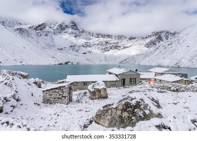 Gokyo village covered with snow, Everest region, Nepal