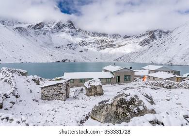 Gokyo village covered with snow, Everest region, Nepal
