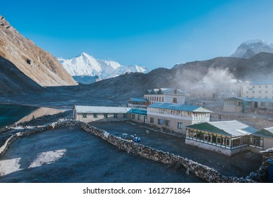 Gokyo village Nepal Solukhumbu District in the Himalayas of Nepal elevation of 4,750 meters one of the highest settlements in Nepal and in the world  guest house trekking EBC Everest base camp