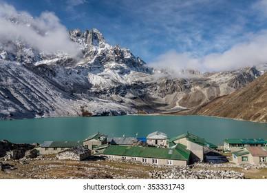 Gokyo village on the shore of a mountain lake, Everest region, Nepal