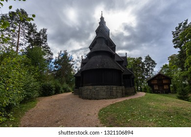 Gol Stave Church (Gol Stavkyrkje) is a typical Norwegian church part of Oslo open air museum  Norsk Folkemuseum. Oslo, Norway, August 2018