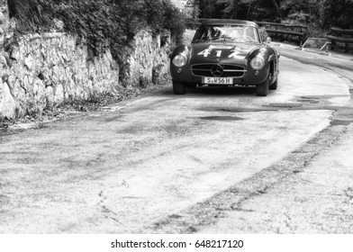 GOLA DEL FURLO, ITALY - MAY 19: MERCEDES-BENZ 300 SL COUPÉ W 198 1957 on an old racing car in rally Mille Miglia 2017 the famous italian historical race (1927-1957) on May 19 2017