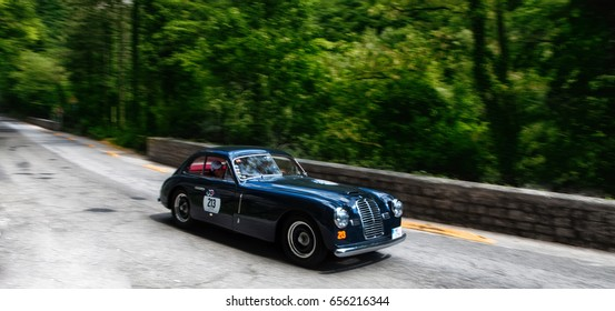 GOLA DEL FURLO, ITALY - MAY 19: MASERATI A6 1500 BERLINETTA PININ FARINA 1950  on an old racing car in rally Mille Miglia 2017 the famous italian historical race (1927-1957) on May 19 2017