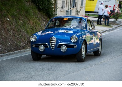 GOLA DEL FURLO, ITALY - MAY 19: ALFA ROMEO GIULIETTA SPRINT VELOCE 1956 on an old racing car in rally Mille Miglia 2017 the famous italian historical race (1927-1957) on May 19 2017
