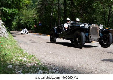 GOLA DEL FURLO, ITALY - MAY 19: LANCIA LAMBDA TIPO 221 SPIDER CASARO 1929 on an old racing car in rally Mille Miglia 2017 the famous italian historical race (1927-1957) on May 19 2017