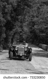 GOLA DEL FURLO, ITALY - MAY 19:  O.M. 665 SS MM 1929on an old racing car in rally Mille Miglia 2017 the famous italian historical race (1927-1957) on May 19 2017