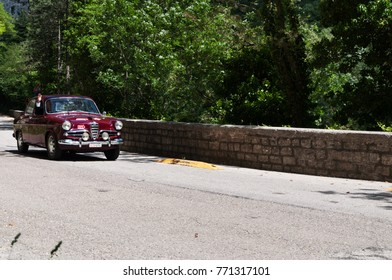 GOLA DEL FURLO, ITALY - MAY 19:ALFA ROMEO GIULIETTA SPRINT 1957   an old racing car in rally Mille Miglia 2017 the famous italian historical race (1927-1957) on May 19 2017