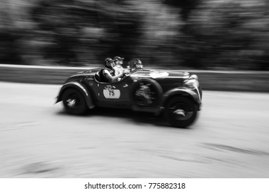 GOLA DEL FURLO, ITALY - MAY 19: FIAT 514 Coppa delle Alpi 1931 an old racing car in rally Mille Miglia 2017 the famous italian historical race (1927-1957) on May 19 2017