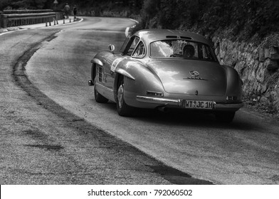 GOLA DEL FURLO, ITALY - MAY 19: MERCEDES-BENZ 300 SL COUPÉ W 198 1954  on an old racing car in rally Mille Miglia 2017 the famous italian historical race (1927-1957) on May 19 2017