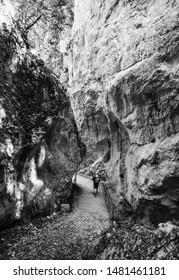 Gola dell'Infernaccio, Italy - 10 August 2019 - Gole dell'Infernaccio canyon and Eremo di San Leonardo sanctuary, a naturalistic wild attraction in the Monti Sibillini National Park, Marche region