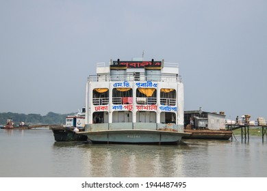 Golachipa, Patuakhali, Bangladesh - 6th October 2018 : A passenger ferry Pubali-5 waiting at the river port of Galachipa