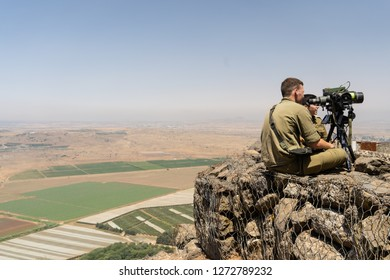 Golan Heights, Israel - July 3, 2018: Militarized area of Golan Heights, Israel bordering Syria. Middle East War Zone