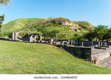 Golan Heights, Israel - March 31, 2018: Kursi National Park impressive remains of a monastery and church
