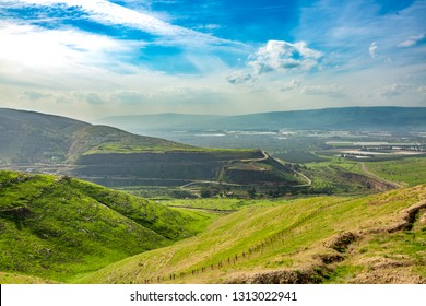 Golan Heights, Landscape view of the Golan Heights from fortress Nimrod - the medieval fortress, israel