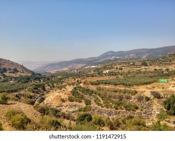 Golan Heights, in summer. Mountains belonging to Syria, until 1967. Israel, September 2018.