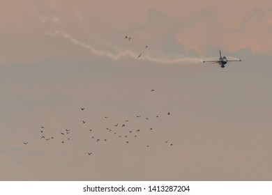 Golbasi, Ankara / Turkey - 08.30.2018: Soloturk, one of two demo teams of Turkish Air Force, preforming an astonishing display.