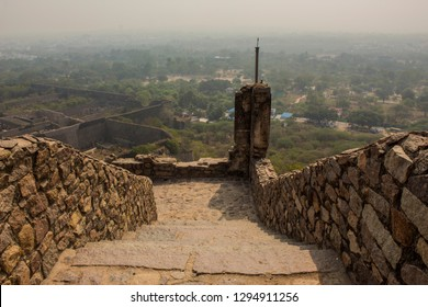 Golconda Fort - It is a citadel and fort in Southern India and was the capital of the medieval sultanate of the Qutb Shahi dynasty .