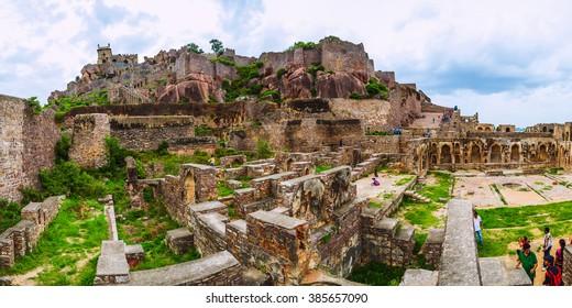 Golconda fort, Hyderabad District, Telangana, India - August 03, 2014: Ruins of the Golconda Fort. Panorama 2x1.