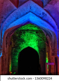Golconda Fort at night in Hyderabad, India.