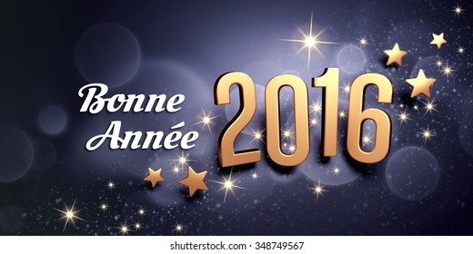 Gold 2016 year type and French greetings on a black festive background