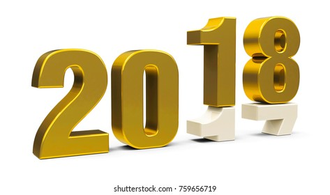 Gold 2017-2018 change represents the new year 2018, three-dimensional rendering, 3D illustration