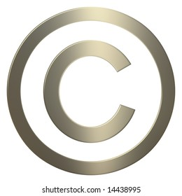 Gold 3d copyright symbol over white background