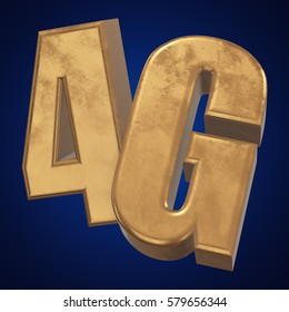 Gold 4G icon on blue background. 3D render letters